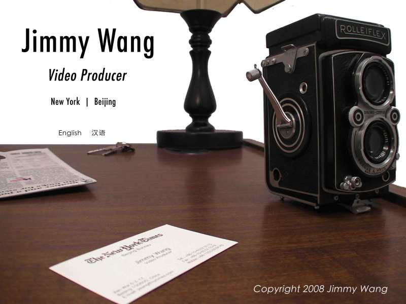 Home Page for Jimmy Wang, award-winning video producer who has produces, edits, shoots, reports, and writes stories for The New York Times, amongst other organizations.  Click the objects to navigate.
